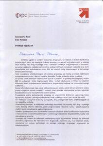 List Przewodniczącego Stowarzyszenia Producentów Cementu do Premier Rządu RP