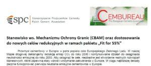 """Stanowisko ws. Mechanizmu Ochrony Granic (CBAM) oraz dostosowania do nowych celów redukcyjnych """"- 55%"""""""